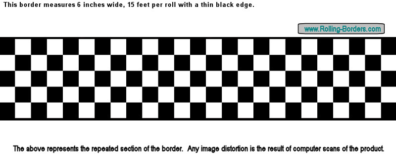 """Nascar Checkered Flag Prepasted Wall Border Roll: 6""""Checkered Flag Wallpaper Border NASCAR Cars Diner F1"""
